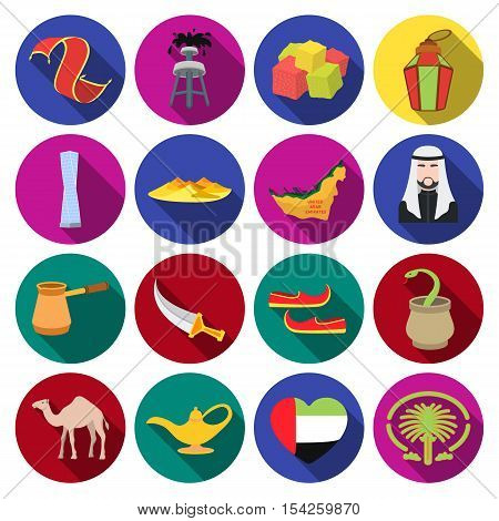 Arab Emirates set icons in flat style. Big collection of Arab Emirates vector symbol stock
