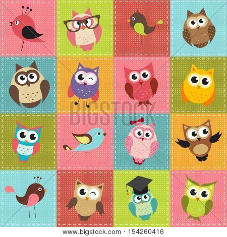 colorful patchwork background with cute owls and owlets