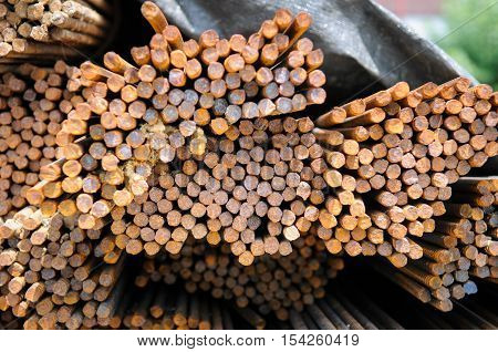 Steel rebar stacked in a construction site