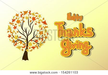 Hand drawn Thanksgiving card. Maple leaves, trees, branches, lettering. Happy Thanksgiving background with maples leaves and tree, can be use as poster or banner.