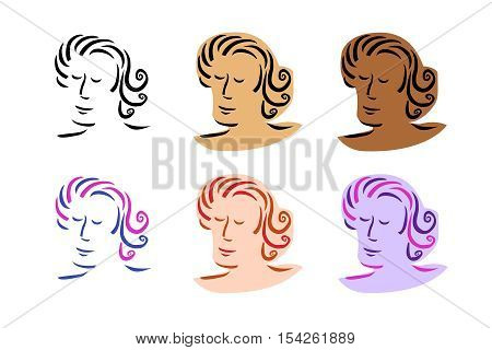 Portrait of man with curly hair in various colours