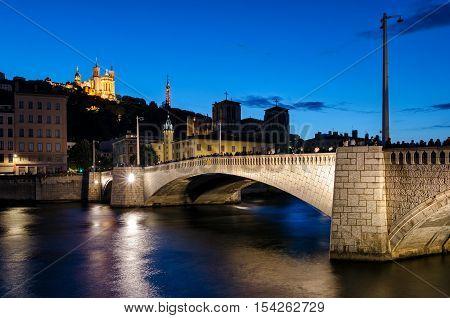 Lyon (France) Notre-Dame de Fourviere and pont bonaparte at blue hour