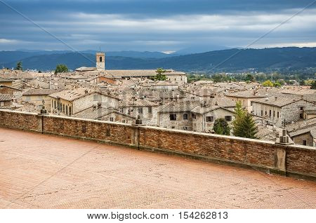 Panoramic view of the medieval town of Gubbio. Umbria Italy