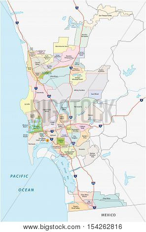 san diego administrative, road and political map