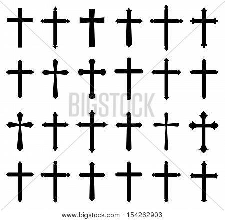 religion cross icon set design cor cristian