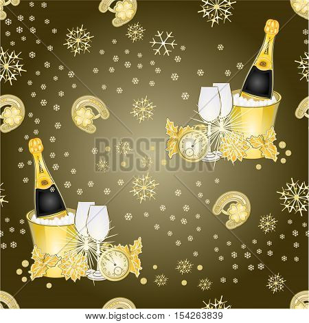 Seamless texture New Year fireworks and midnight toast merry background Vector illustration