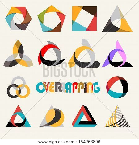 Abstract multicolored overlapping geometric polygon shape logo design marks set