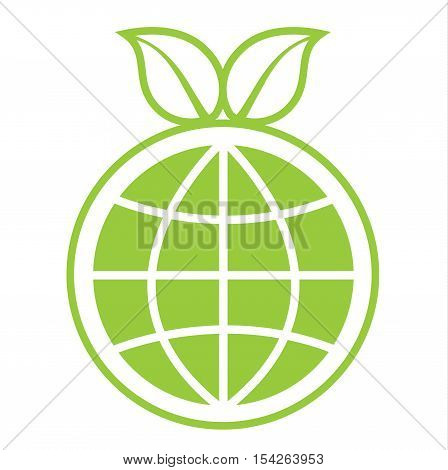 Eco Green Globe Sign - Eco Planet Mordern Abstract With Leaf For Logo, Banners, Templates, Internet Web Sites - Flat Icon Vector Illustration Stock EPS
