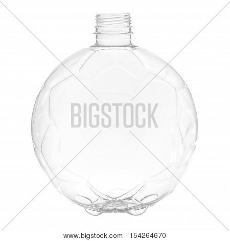New, clean, empty plastic bottle isolated on white background, in the form of ball