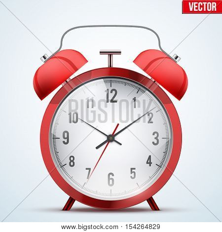 Traditional red alarm clock. Classic silver design and gloss metal. Vector Illustration Isolated on background.