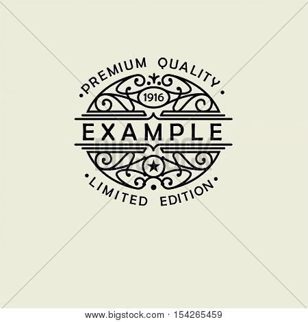 Beautiful floral Oval emblem, badge, monogram, for template logo in the style of Nouveau art