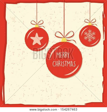 merry christmas in christmas balls in red frame, greeting card, holiday seasonal concept, vector