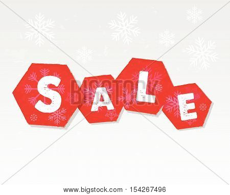 winter sale with snowflakes over white background, business seasonal shopping concept, vector