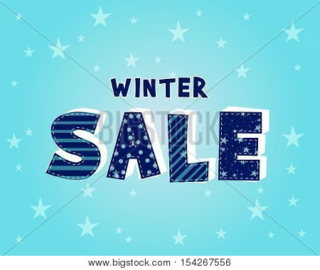 winter sale with stars over blue background, business seasonal shopping concept, vector
