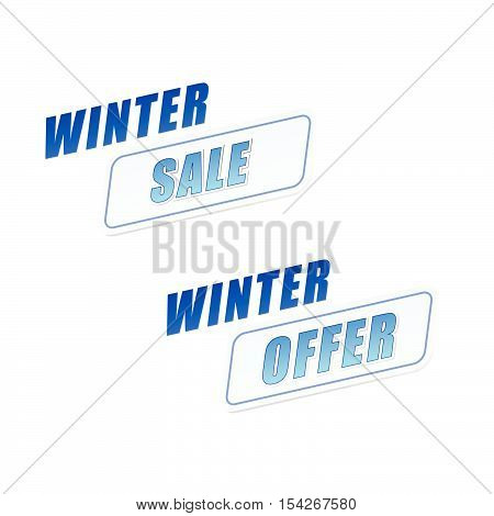 winter sale and offer in flat design labels, business seasonal shopping concept, vector