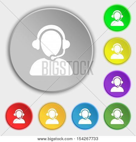 Customer Support Icon Sign. Symbol On Eight Flat Buttons. Vector