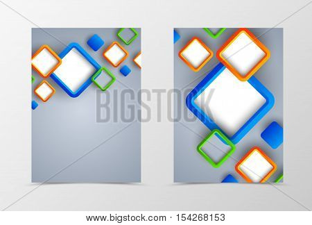 Front and back dynamic flyer template design. Abstract template with orange, green and blue squares in geometric style. Vector illustration