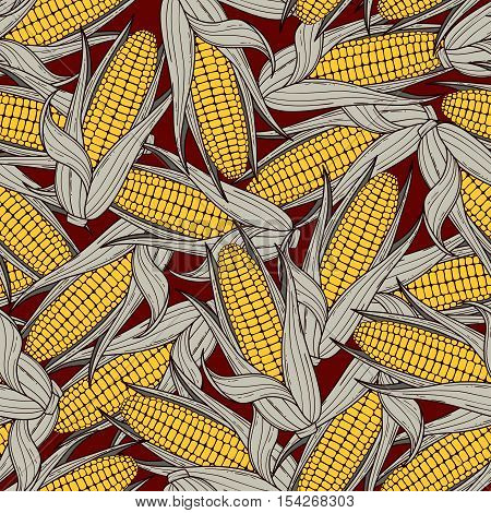 Hand drawn scattered corn cobs seamless pattern. Vector illustration. Background of vegetables
