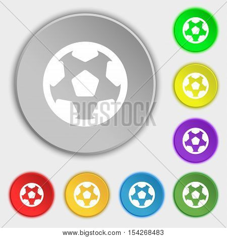 Football, Soccerball Icon Sign. Symbol On Eight Flat Buttons. Vector