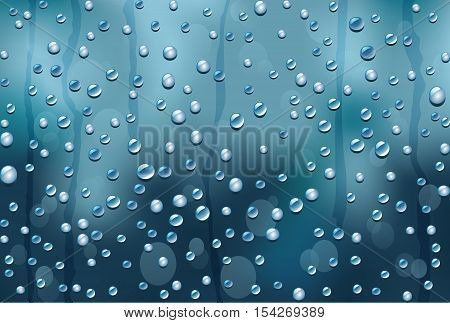 window glass with raindrops autumn abstract background vector editable template