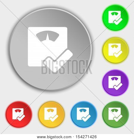 Bathroom Scales Icon Sign. Symbol On Eight Flat Buttons. Vector