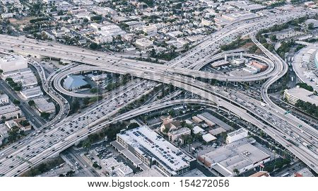 Freeway junction aerial view in Los angeles california