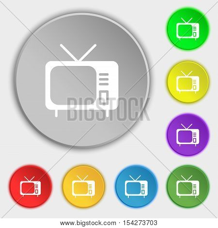 Tv Icon Sign. Symbol On Eight Flat Buttons. Vector