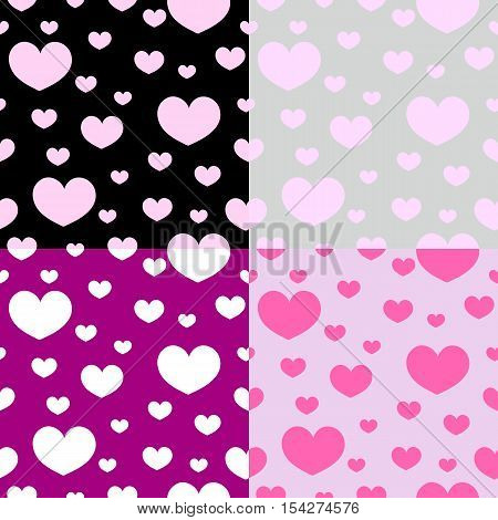 Romanticism heart seamless pattern Vector illustration. Pink, gray, black colours