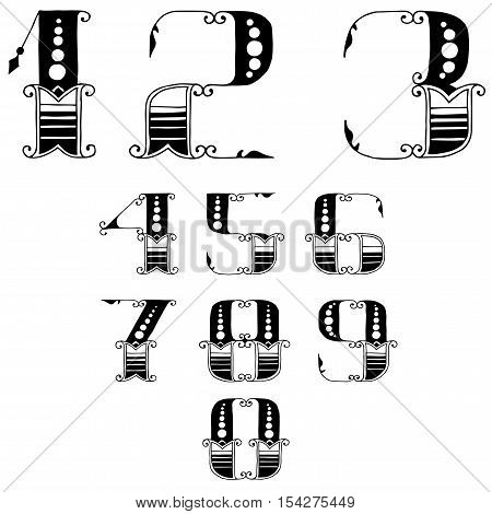 vector set of numbers in vintage style