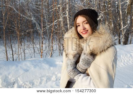 Christmas Young Woman In Winter