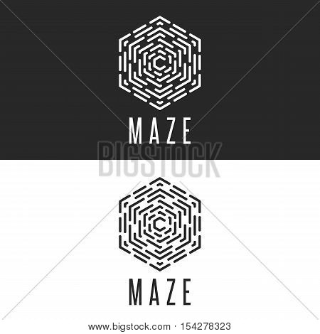 Maze Logo Cube Illusion, Thin Line Labyrinth Symbol Technology Icon, Rebus Black And White Insignia