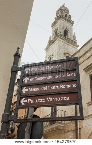 Signals of monumental signs in downtown Lecce.È the main town of the Salento peninsula a reference point for tourism and culture