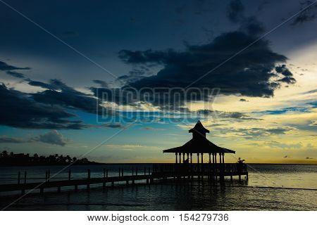 Gazebo Bridge Sea At Sunset