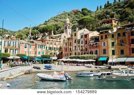 PORTOFINO, ITALY - AUG 7, 2016: View of Portofino in Liguria, famous Mediterranean sea town at the Italian Riviera.