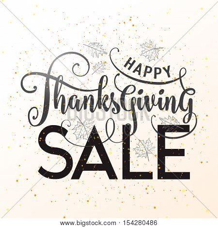 Vector illustration of Happy Thanksgiving Sale graphic design. Typography poster with leaves silhouette and lettering text. Greeting celebration Thanksgiving card isolated on white for advertising