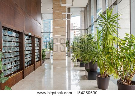 Hallway office building lobby area. Office building modern design interior