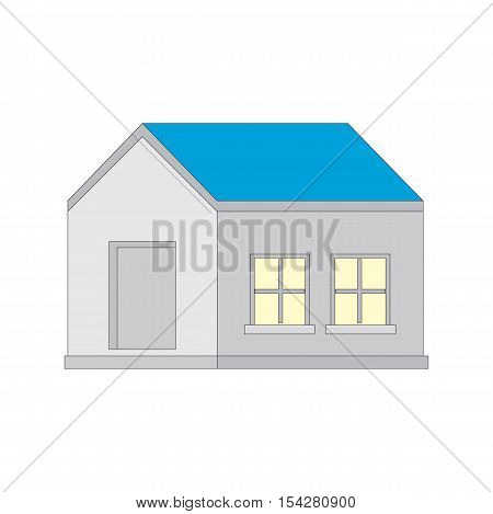 Detached house isolated on white background with a blue roof. Vector illustration.