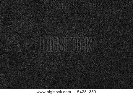 Black velour suede texture background. Horizontalclose up