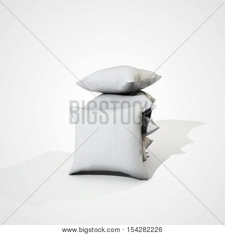 Few pillows pillows isolated on white. 3D illustration