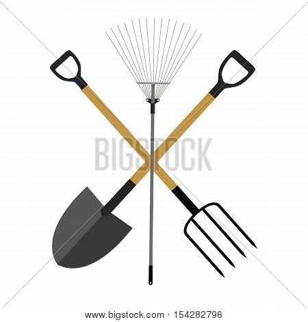 Garden Tools, Instruments Flat Icon Collection Set. Shovel, Rake and Pitchfork Vector Illustration EPS10