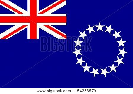 Flag of Cook Islands (New Zealand), Avarua - Polynesia. Vector Illustration