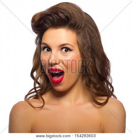Pinup portrait of young woman isolated poster