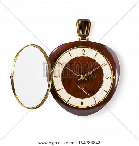 Retro old wall clock with key isolated on white background. Design element. Single object with clipping path