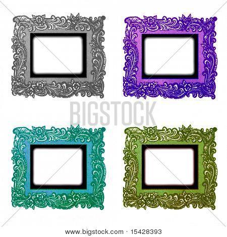 Vintage Decorative Real Photo Frames Set Isolated On White