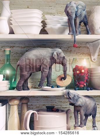 The tiny elephants opens the glass vase with berries. Photo combination concept