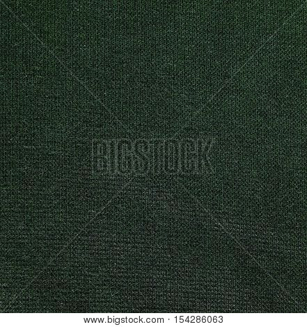 Dark green knitwear fabric texture background close up