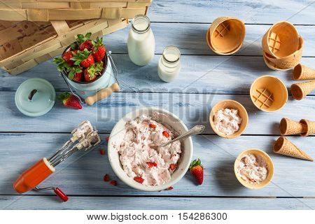 Homemade Production Line Of Strawberry Ice Cream