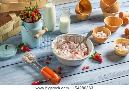 Fresh Cream And Strawberries As Ingredients For Ice Cream
