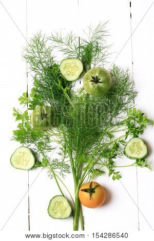 Cover For A Cookbook Magazine Dill And Cilantro Tomato Cucumber On White Wooden Background Style Fla