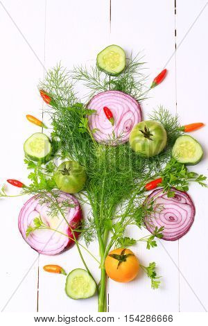 Cover For A Cookbook Magazine Dill And Coriander Chilli Tomato Cucumber Red Onion On A White Wooden